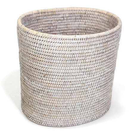 White Washed Rattan Waste Basket Oval