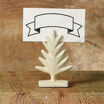 Tree Cast Iron Place Card Holder (White) Set/6