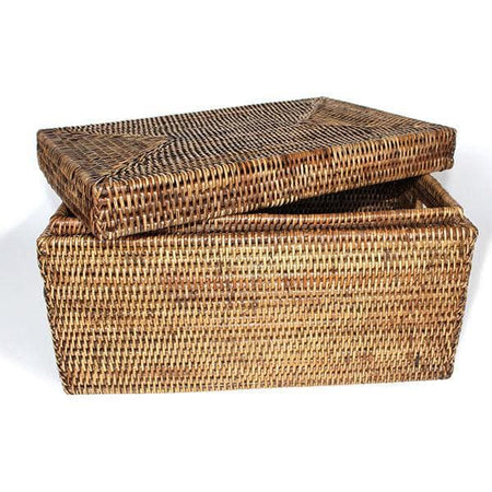 Rattan Lidded Storage Basket Rectangular Lid