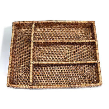 Rattan Tray Flatware Compartment