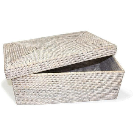 White Washed Rattan Rectangular Storage Basket w/Lid Lg.