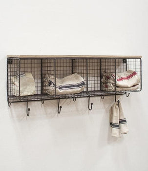 Wire Mesh Four Horizontal Cubbies w/Wooden Top