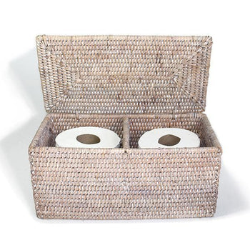 White Wash Rattan Double Toilet Paper Holder