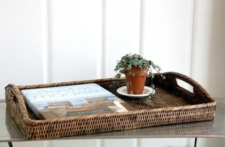 Rattan Tray Morning Rectangular Large 20.5""