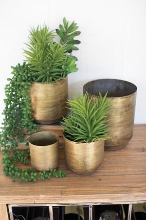 Set/4 Metal Flower Pots - Aged Brass Finish