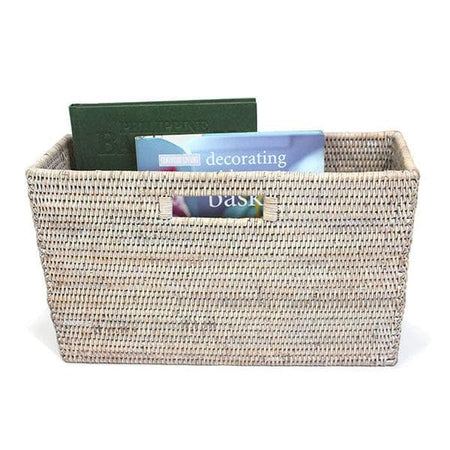 White Washed Rattan Slim Magazine Basket