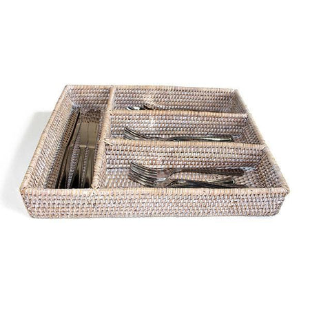 White Washed Rattan Tray Flatware Compartment