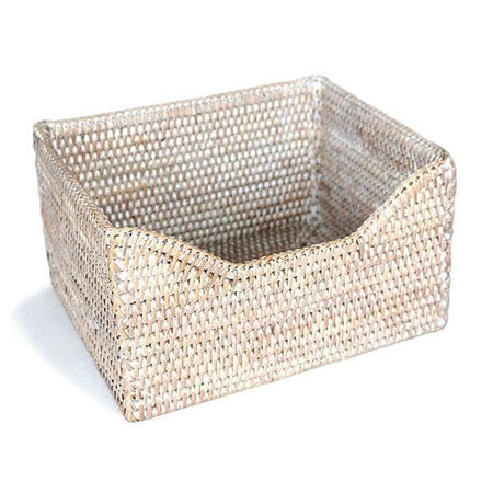 White Washed Rattan Small File Holder Basket