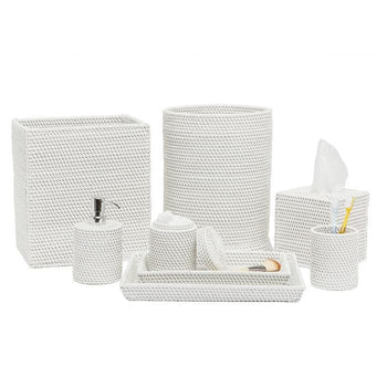 Dalton White Rattan Bathroom Accessories