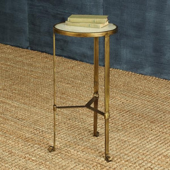 Savoy Iron & Stone Side Table - Antique Brass with White Marble