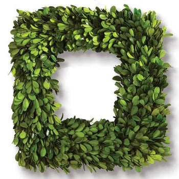 Preserved Boxwood Square Wreath 16""