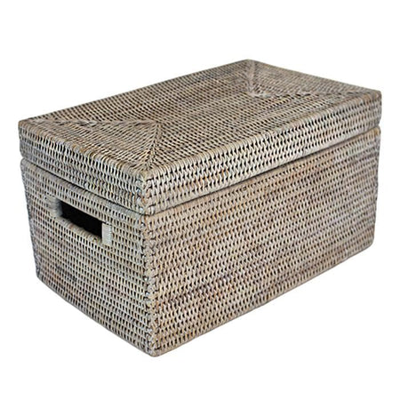White Washed Rattan Lidded Storage Basket Rectangular Lid