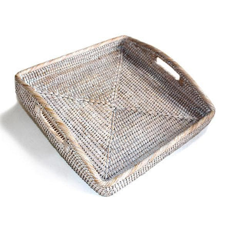 White Washed Rattan Square Tray 12""