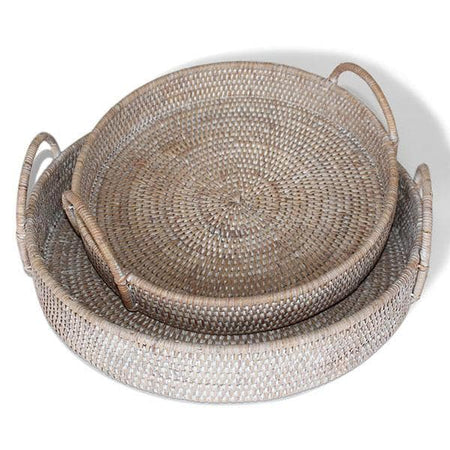 White Washed Rattan Round Tray w/Handles Set/2