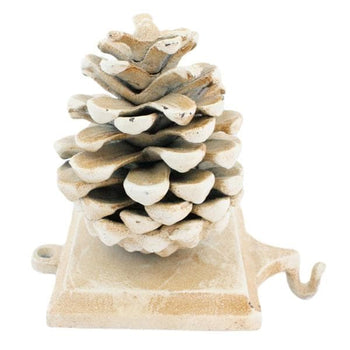 Stocking Holder Pinecone - White, Cast Iron
