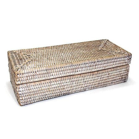 White Washed Rattan Long Rectangular Lidded Box