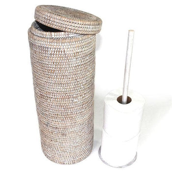 White Rattan Toilet Paper Roll Basket