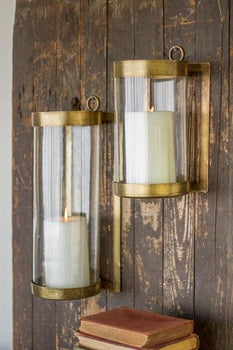 Glass & Antique Brass Finish Wall Mounted Hurricanes