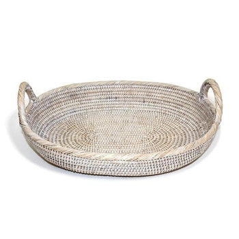 White Washed Rattan Oval Tray w/Loop Handles