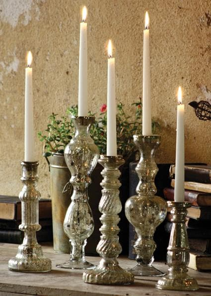 Antiqued Silver Glass Taper Candle Holder