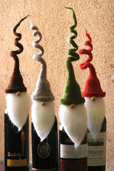 Felt Santa Wine Bottle Toppers Set/4