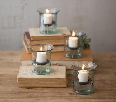 Recycled Glass Mini Votive Cylinder Set/4