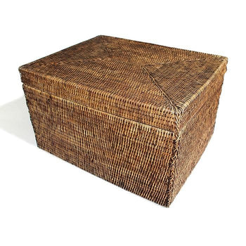 Rattan Rectangular Lidded Storage Basket
