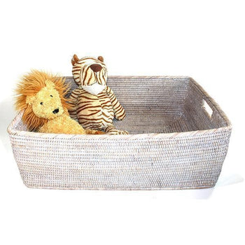 White Wash Rattan Basket Family Rectangular