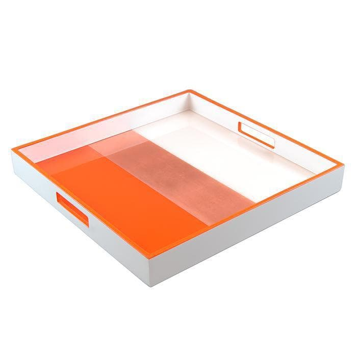 Lacquer Square Tray Orange With Copper Leaf And White
