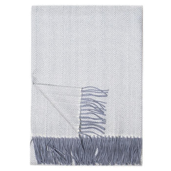 Montreal Pewter Herringbone Baby Alpaca Throw