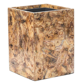 Adana Marbleized Shell Square Waste Basket