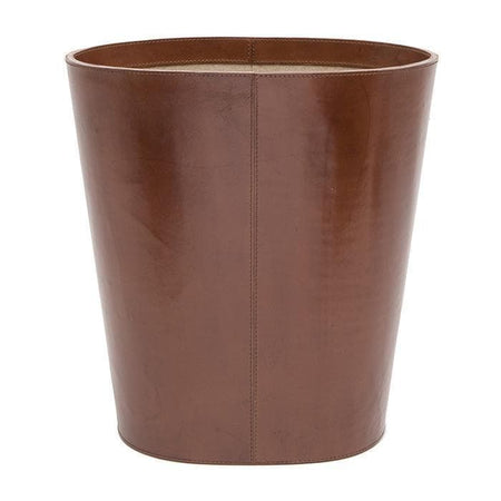 Stirling Tobacco Full-Grain Leather Oval Wastebasket