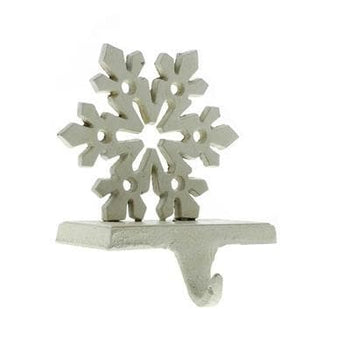 Snowflake Stocking Holder - Cast Iron - Antique White Set/2