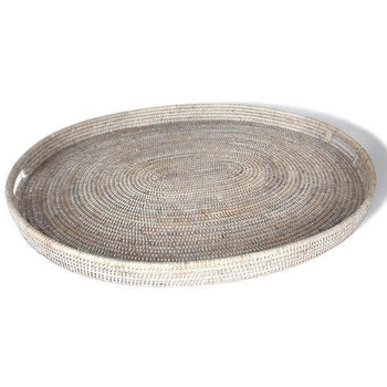 White Washed Rattan Oval Tray 28""
