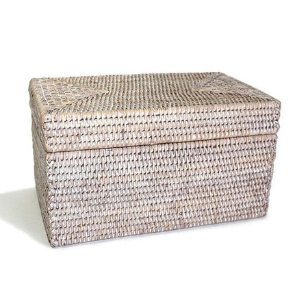 White Washed Rattan Rectangular Lidded Storage Basket