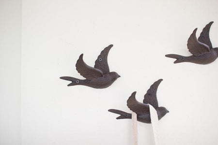 Cast Iron Flying Bird Wall Hooks Set/4
