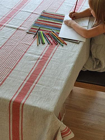 Red Linen Provence Tablecloth