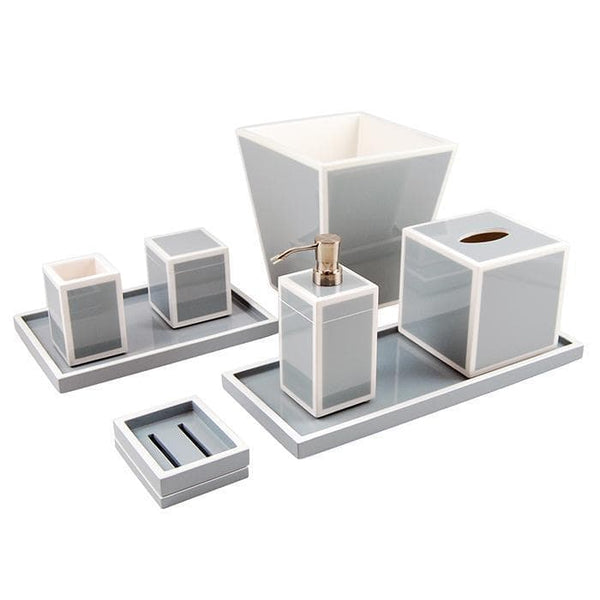 cool gray & white lacquer bathroom accessories