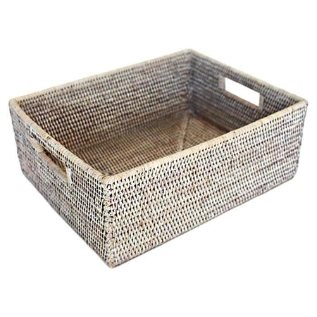 "White Washed Rattan Shelf Basket 15.5""L"
