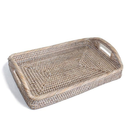 White Washed Rattan Tray Morning Rectangular Small 12""