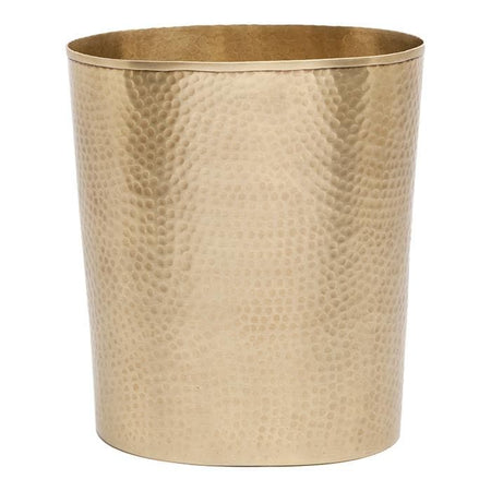 Verum Hammered Metal Oval Waste Basket - Antique Brass
