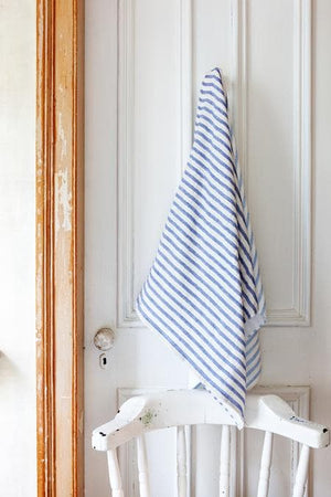 Linen Border Bath Towel (Navy Blue)