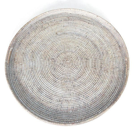 White Washed Rattan Tray w/ Handle Round 26""