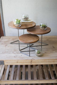 Round Wire Display Risers with Wood Tops Set/3