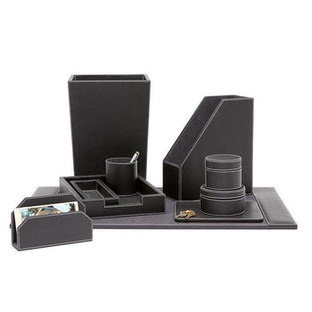 ... Larne Black Full Grain Leather Office Accessory Set/4