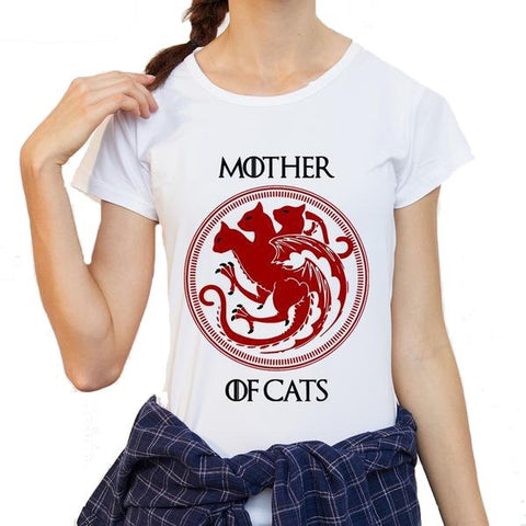 Mother of Cats T-shirt Print for Women - Cute Wayz