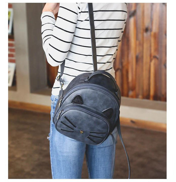 Cat Backpack with Cat Ears in PU Leather Bag - Cute Wayz