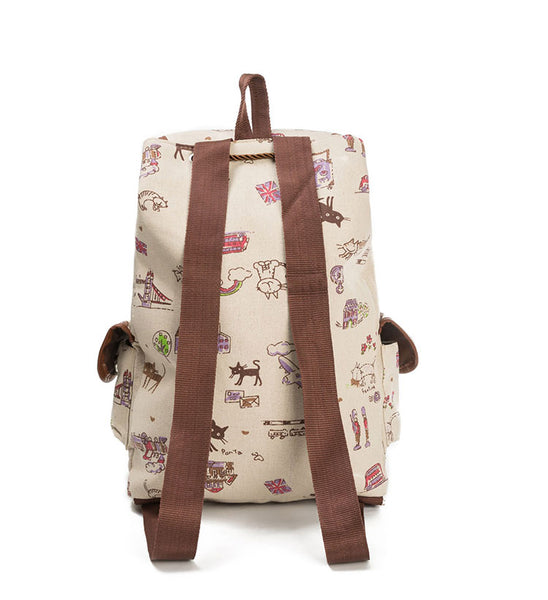 Cat Embroidery and Print Canvas Backpack Bag - Cute Wayz
