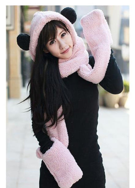Cute Bear Hats with Scarves Mittens - Cute Wayz