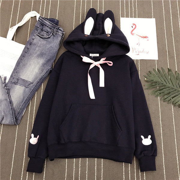 Adorable Rabbit Embroidered with Ears Hoodie Pullover